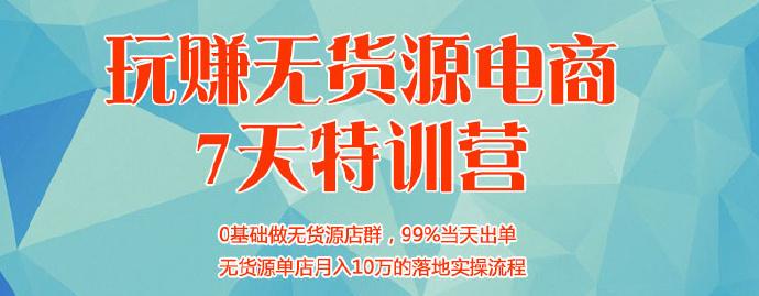 《玩赚无货源电商7天特训营》单店月入10万落地实操流程!